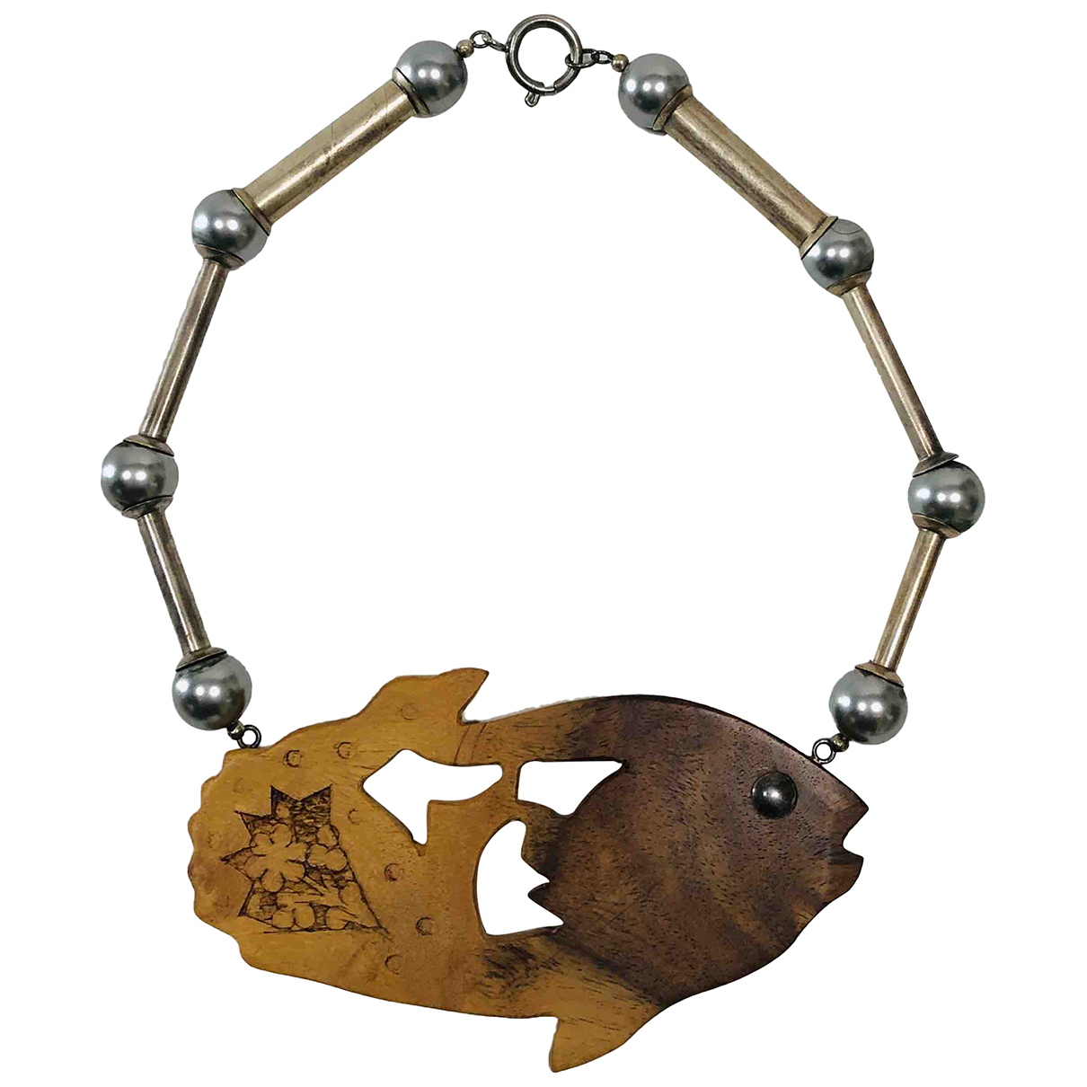 Non Signe / Unsigned Motifs Animaliers Kette in  Braun Holz