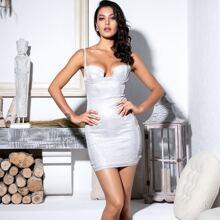 Schulterfreies Slip Kleid mit Bustier und Glitzer
