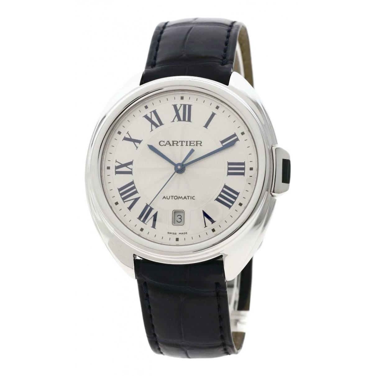 Cartier Cle Uhr in  Schwarz Weissgold