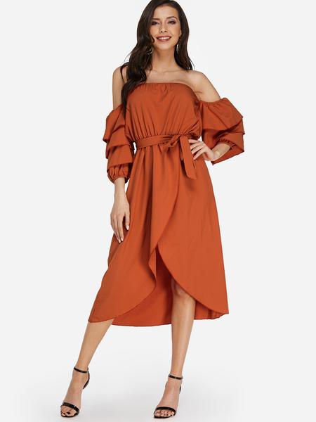 Yoins Red Self-tie Design Off The Shoulder Bell Sleeves Irregular Hem Dress