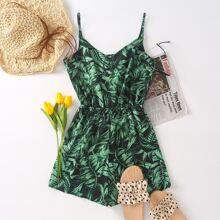 Cami Romper mit tropischem Muster