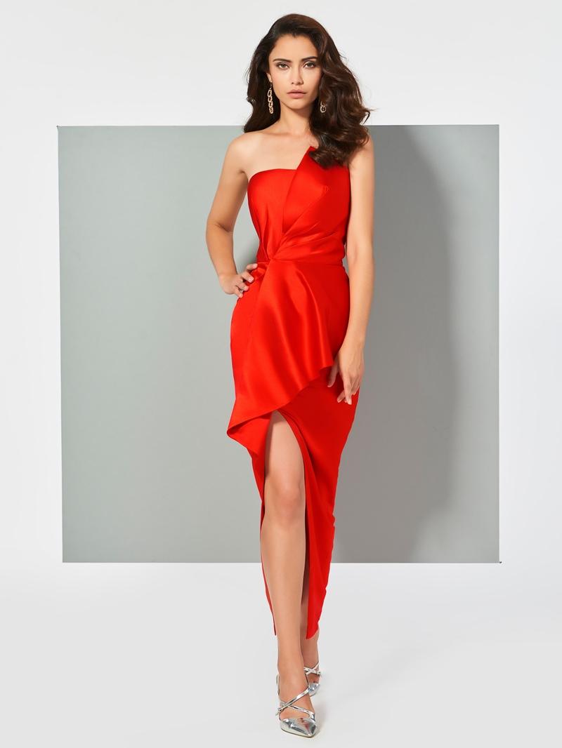 Ericdress Sheath Strapless Slit Front Ankle Length Evening Dress