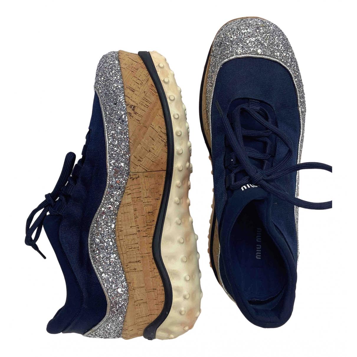Miu Miu \N Sneakers in  Blau Leinen