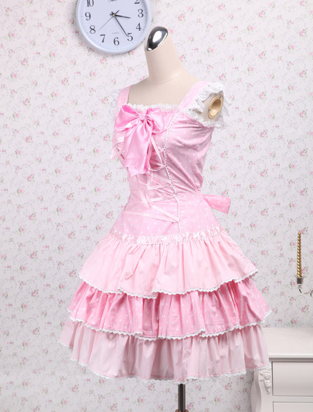 Milanoo Cotton Pink Lace Front Ties Bow Sweet Lolita Dress