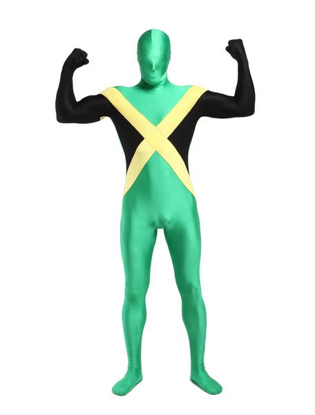 Milanoo Disfraz Halloween Zentai de elastano de marca LYCRA con estampado de bandera nacional de Jamaica  Halloween