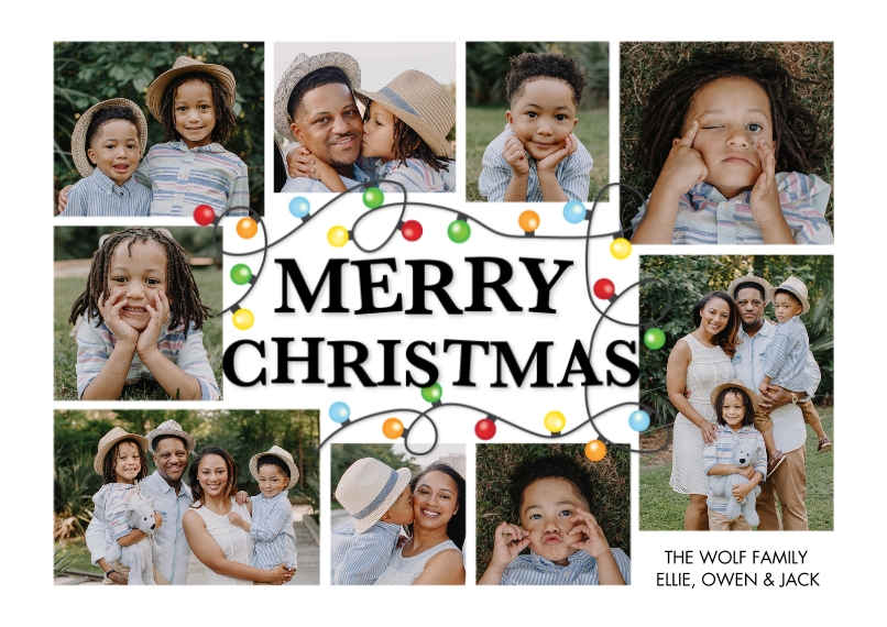 Christmas Photo Cards Flat Matte Photo Paper Cards with Envelopes, 5x7, Card & Stationery -Christmas String of Lights Frame by Tumbalina