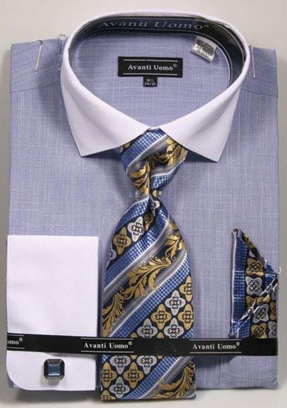 Men's Textured Pattern French Cuff Cotton Blue Shirt Tie Hanky Set