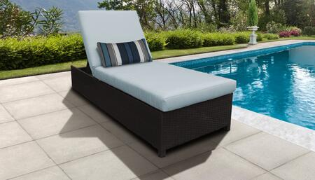 Barbados Collection BARBADOS-W-1x-SPA Wicker Patio Chaise with Wheels - Wheat and Spa