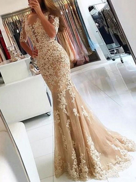 Milanoo Evening Dress Mermaid Illusion Neckline Lace Applique Formal Party Dresses With Train