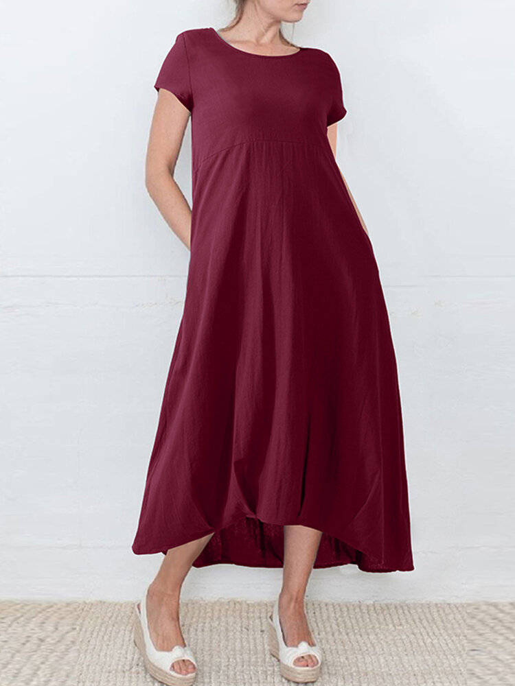 Asymmetrical Solid Color Short Sleeve Plus Size Dress