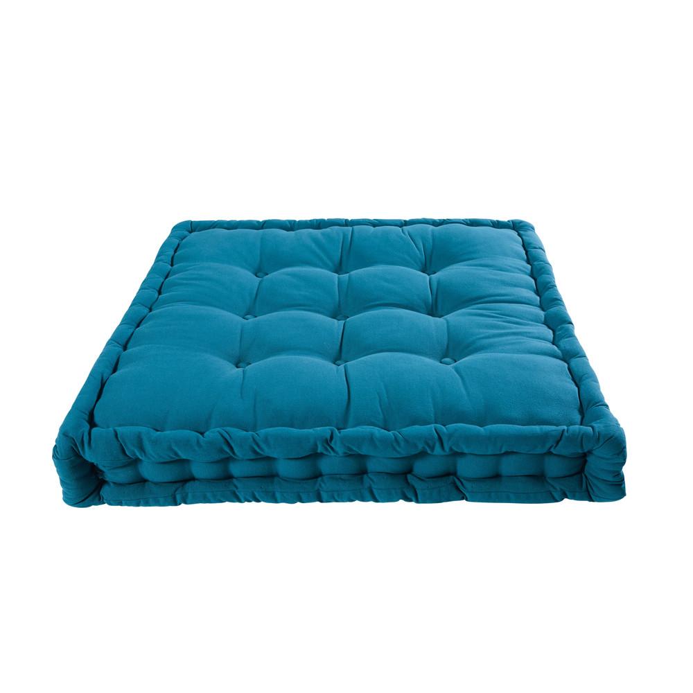 Matratze aus petrolblauer Baumwolle 90x90cm