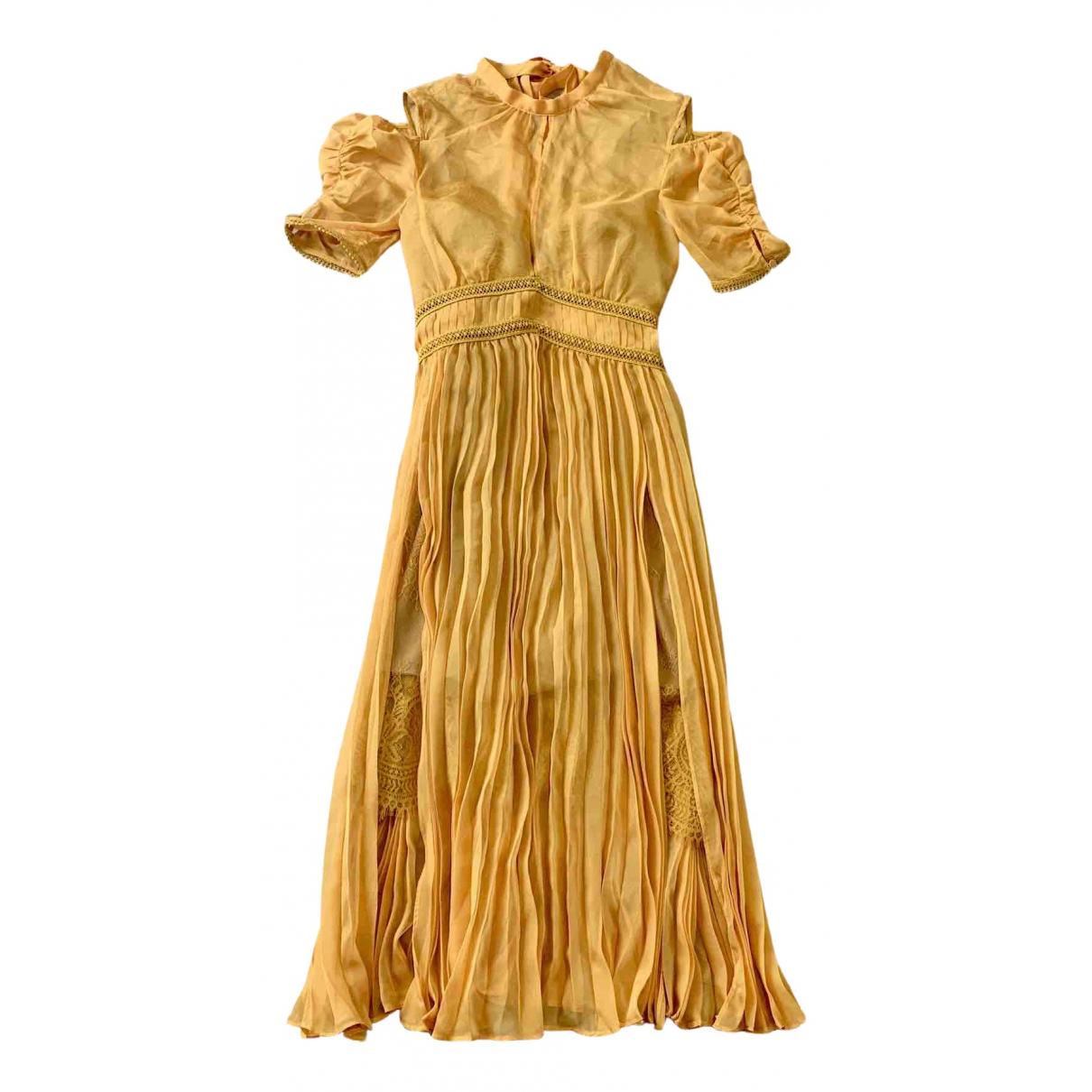 Self Portrait \N Yellow Silk dress for Women 6 UK