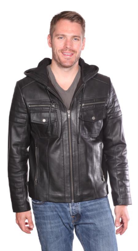 Warden Leather Bomber Jacket Black
