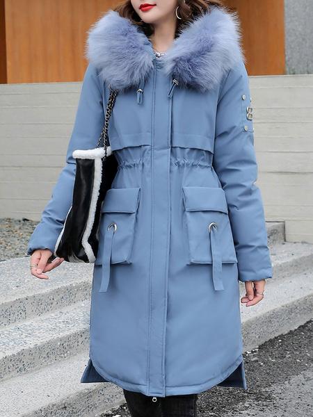 Milanoo Abrigos acolchados para mujer Blanco crudo Cremallera con capucha Mangas largas Diseño alto y bajo Ropa de abrigo de invierno