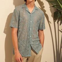 Men Revere Collar Sheer Lace Shirt