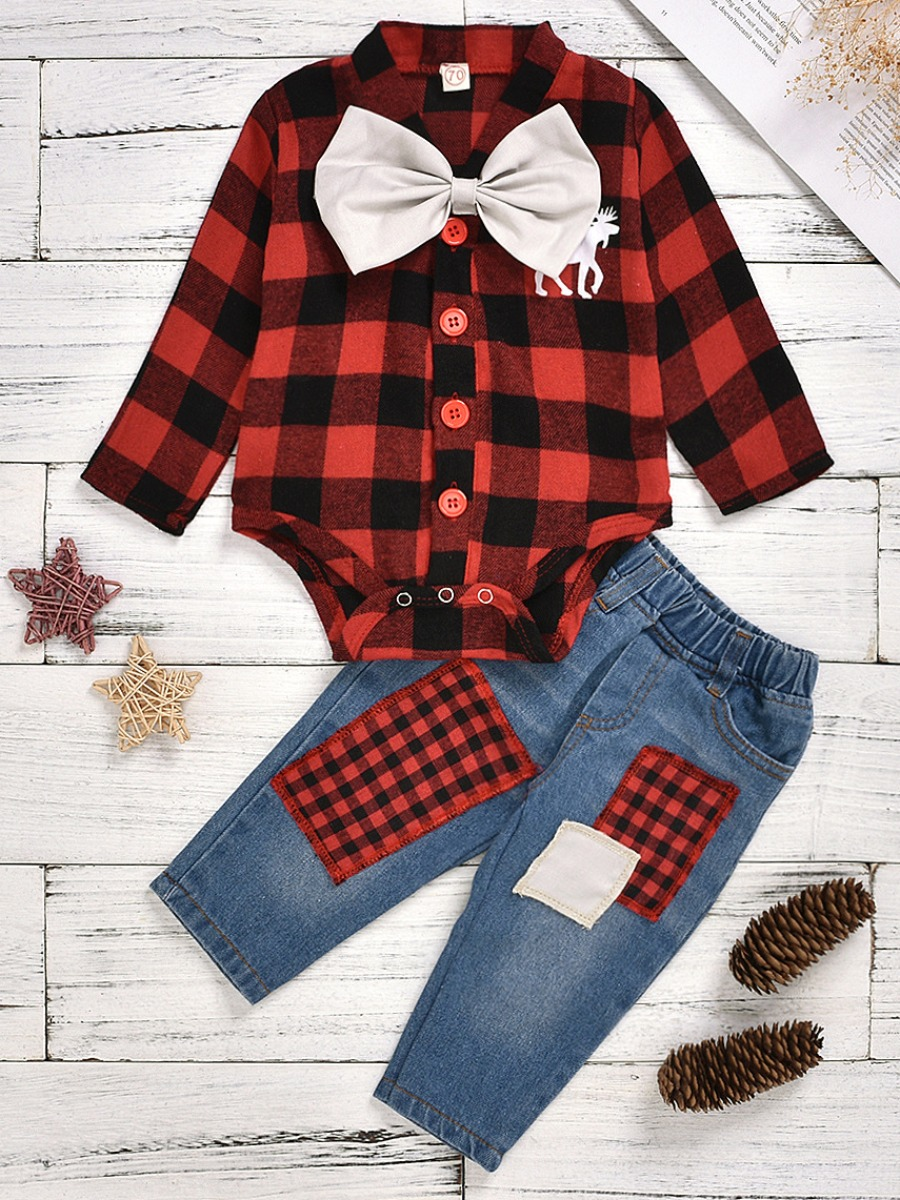 LW lovely Trendy Grid Print Red And Black Girl Two-piece Pants Set