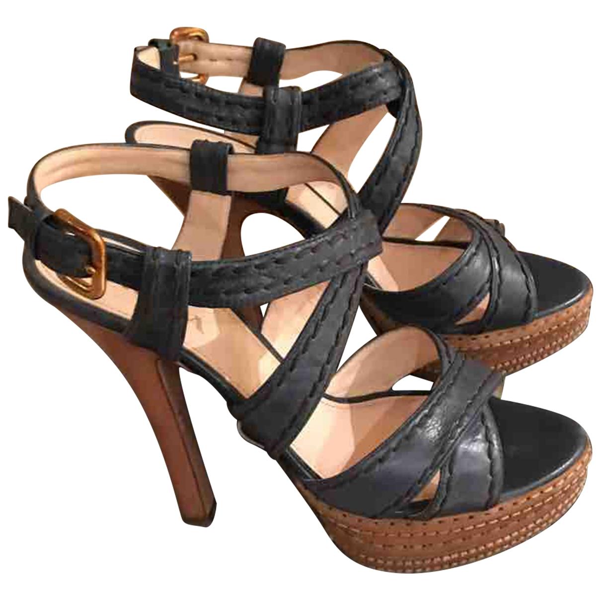 Prada - Sandales   pour femme en cuir - marine