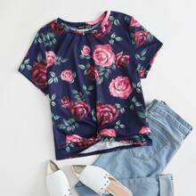 Allover Floral Twist Front Tee