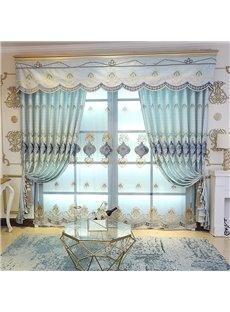 Elegant Embroidered Home Decor 2 Panels Living Room Bedroom Sky Blue Custom Sheer Curtains