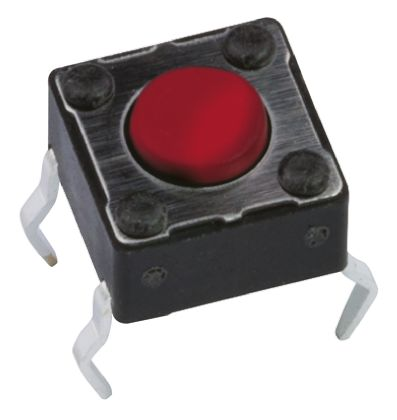 APEM Red Button Tactile Switch, Single Pole Single Throw (SPST) 50 mA @ 12 V dc 3.5mm (20)