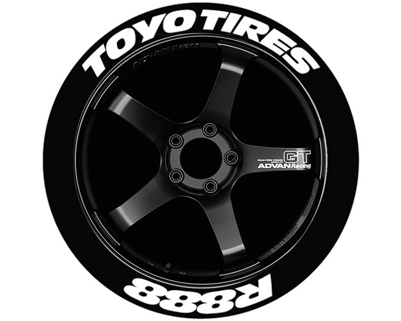 Tire Stickers TOYR88-1921-1-4-R Red 'Toyo Tires R888' Permanent Raised Rubber Lettering Set of 4CH - 19