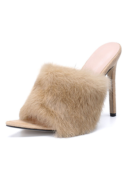 Milanoo High Heel Mules Women Peep Toe Fur Detail Stiletto Mule Shoes