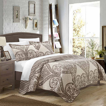 Chic Home Napoli Reversible Quilt Set, One Size , Beige