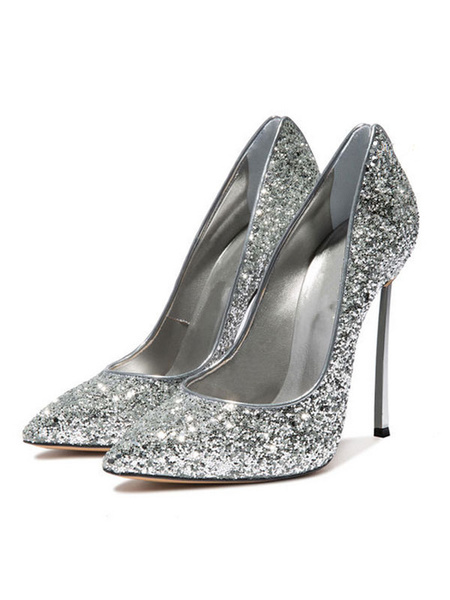 Milanoo Black Prom Shoes Sparkly Pumps High Heel Pointed Toe Party Shoes