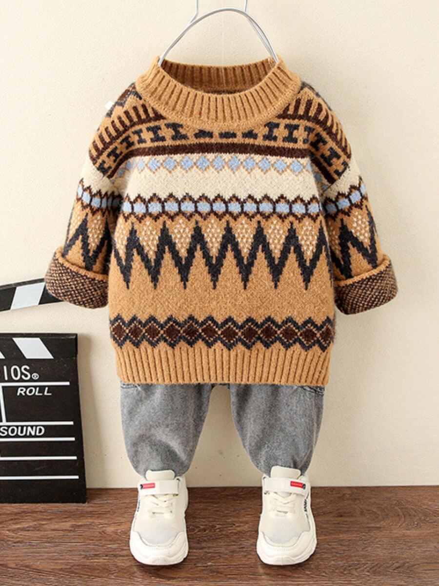 LW Lovely Casual Geometric Print Patchwork Brown Boy Sweater