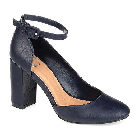 Journee Collection Womens Raveen Buckle Round Toe Block Heel Pumps, 7 Medium, Blue