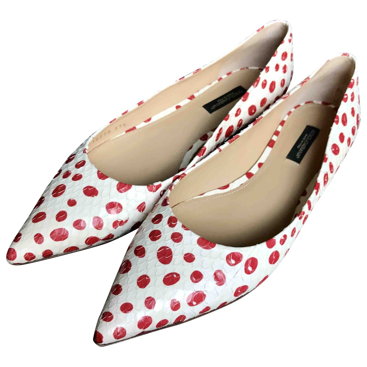 Dolce & Gabbana \N White Python Ballet flats for Women 37.5 EU