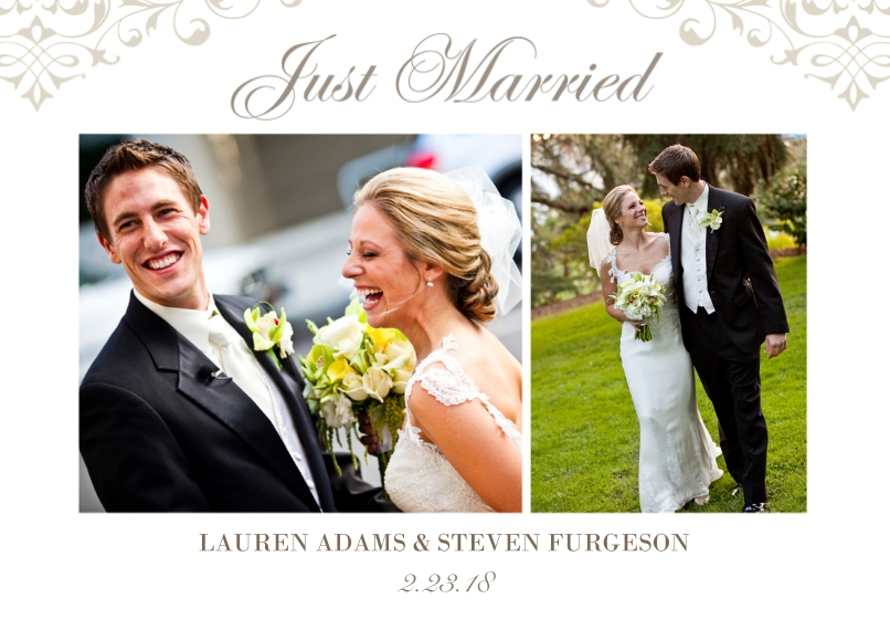Just Married Flat Glossy Photo Paper Cards with Envelopes, 5x7, Card & Stationery -Wedding Flourish - Announcement