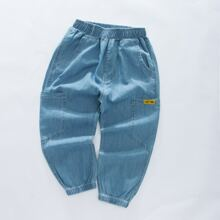 Toddler Boys Letter Patched Jeans