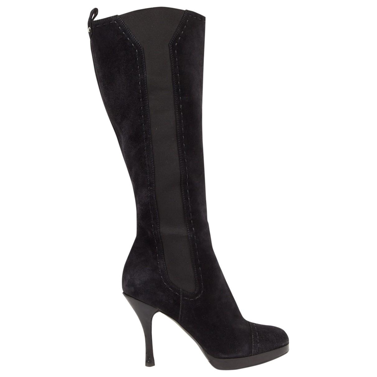 Yves Saint Laurent - Bottes   pour femme en suede - noir