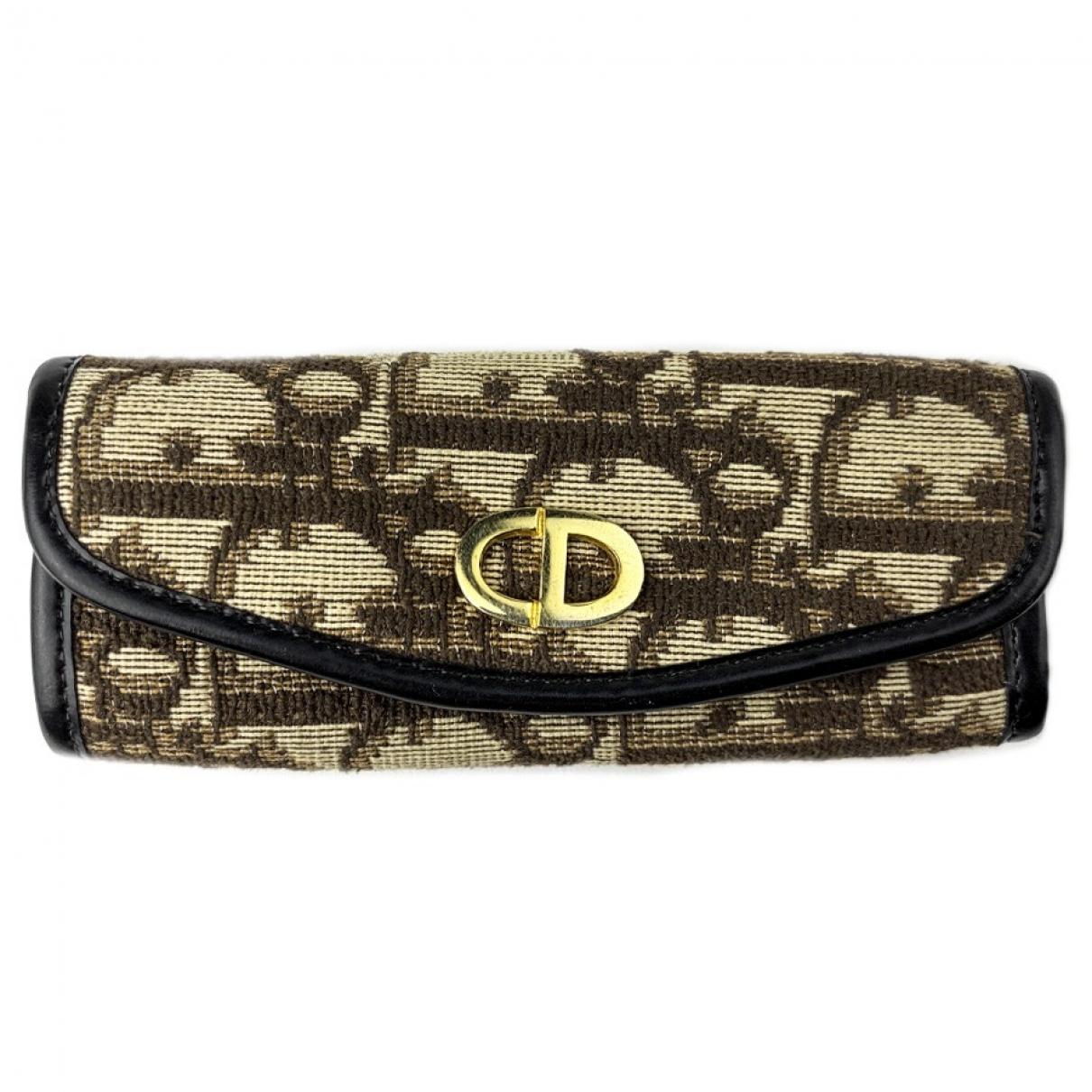 Dior - Petite maroquinerie   pour femme en toile - marron
