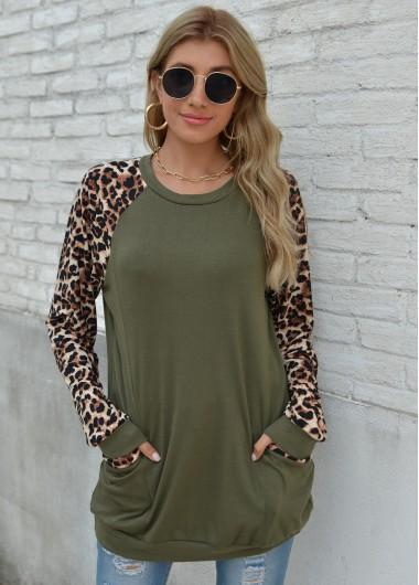 Long Sleeve Round Neck Leopard Pocket Sweatshirt - L