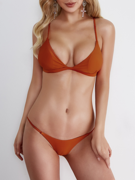 Yoins Orange Bodycon Low Cut V-neck Bikini Set
