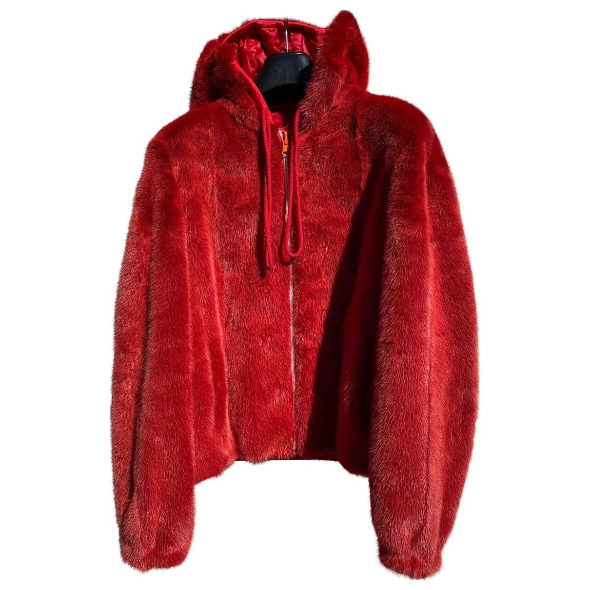 - Blouson   pour femme en vison - rouge