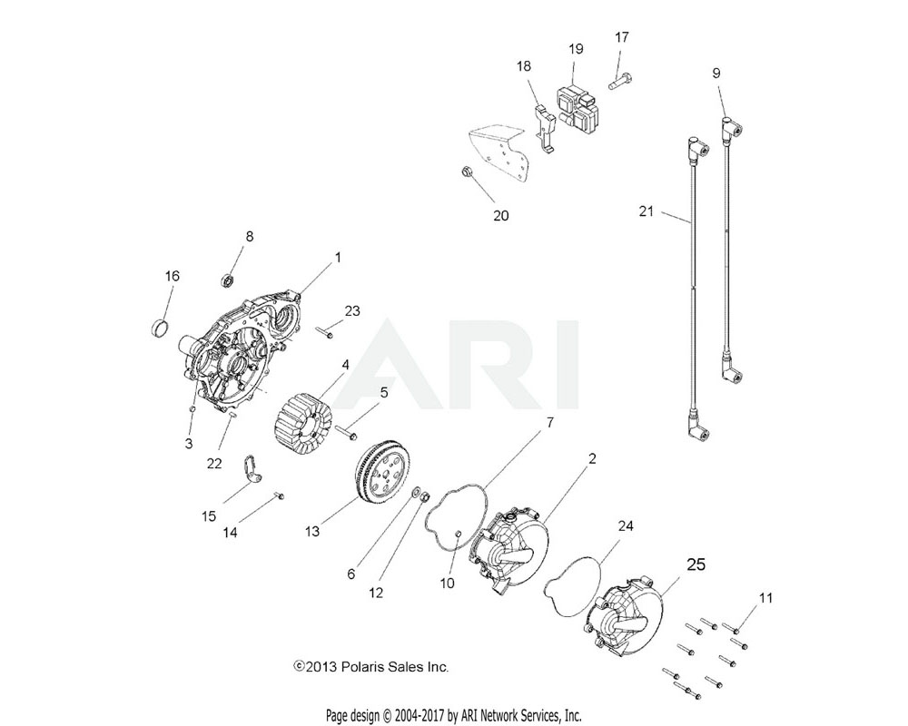 Polaris OEM 1204712 ASM., ENGINE COVER, MAGNETO | [INCL. 3, 22]