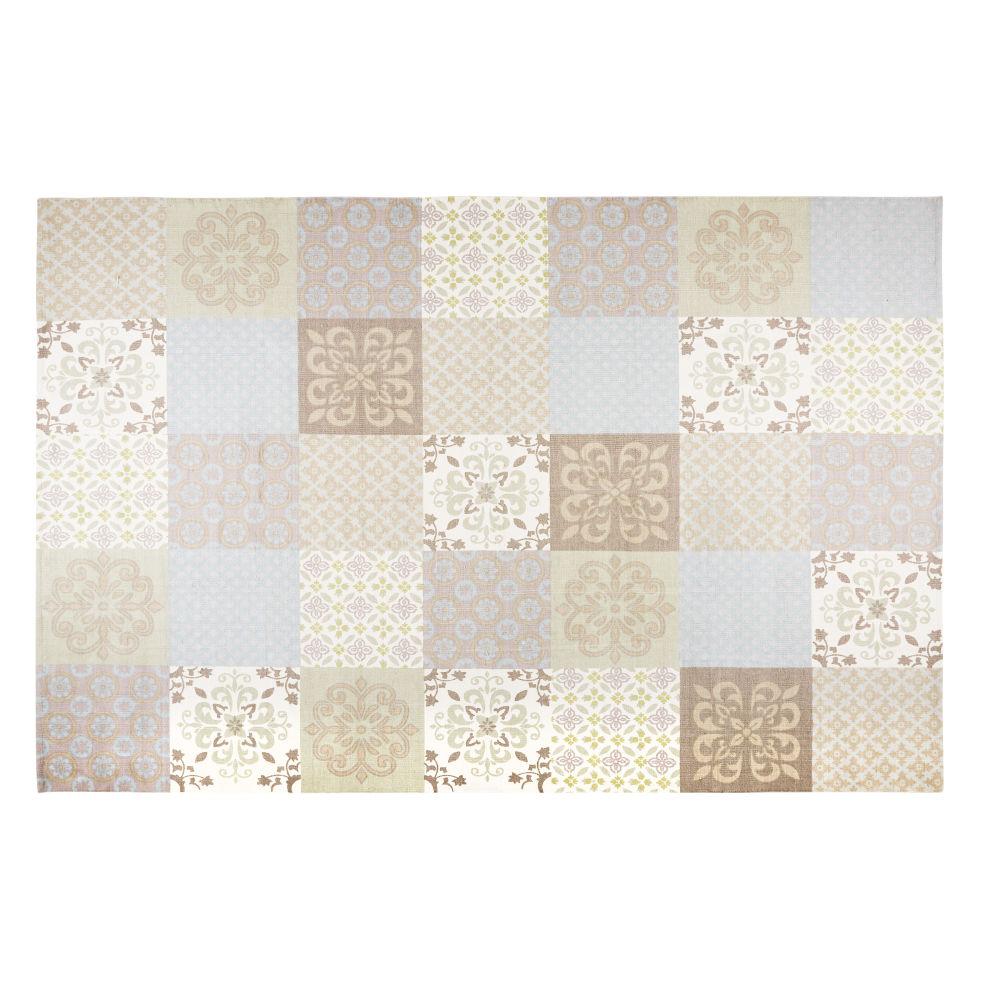 Teppich mit beigem und blauem Zementfliesen-Muster 200x300cm PROVENCE