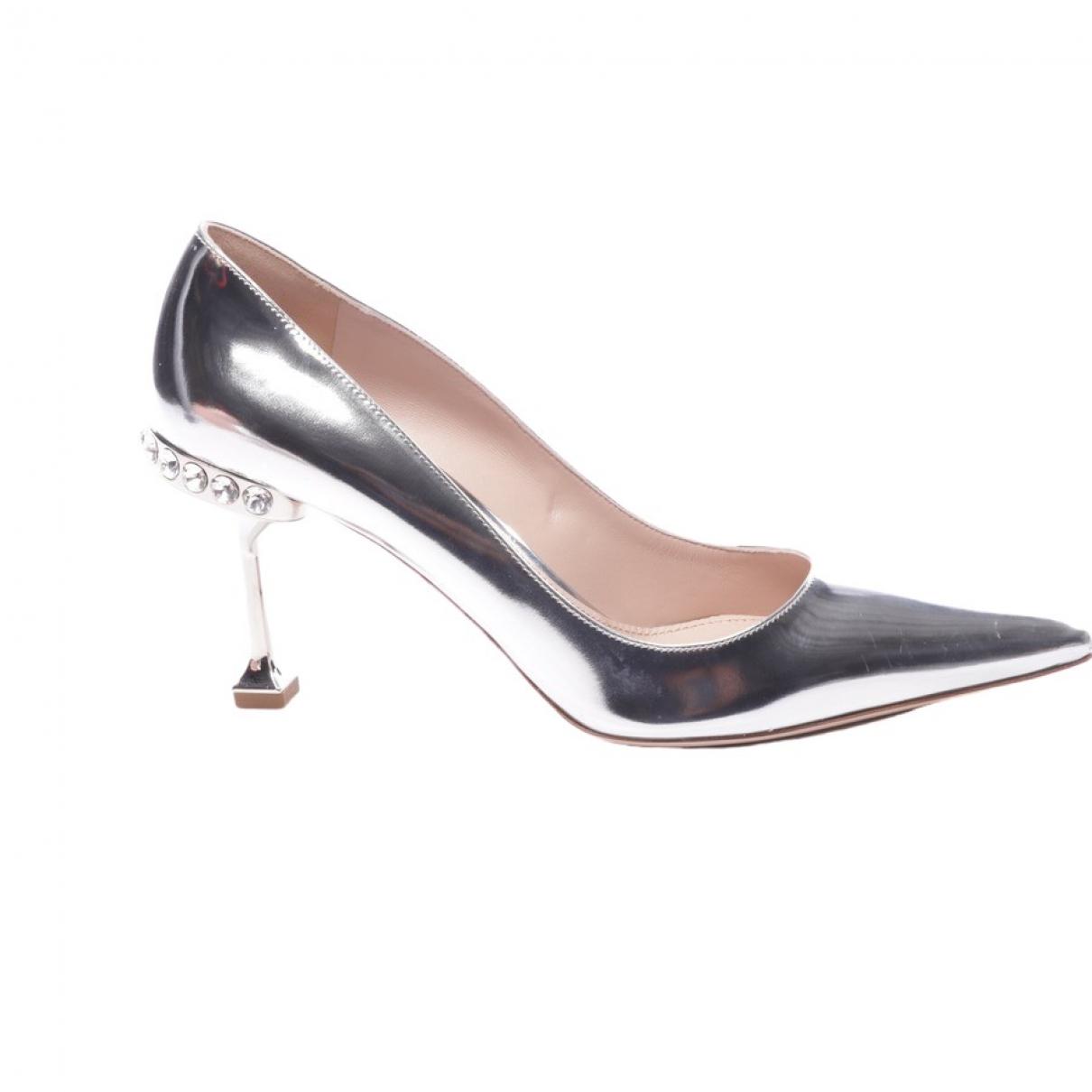 Miu Miu - Escarpins   pour femme en cuir - metallise