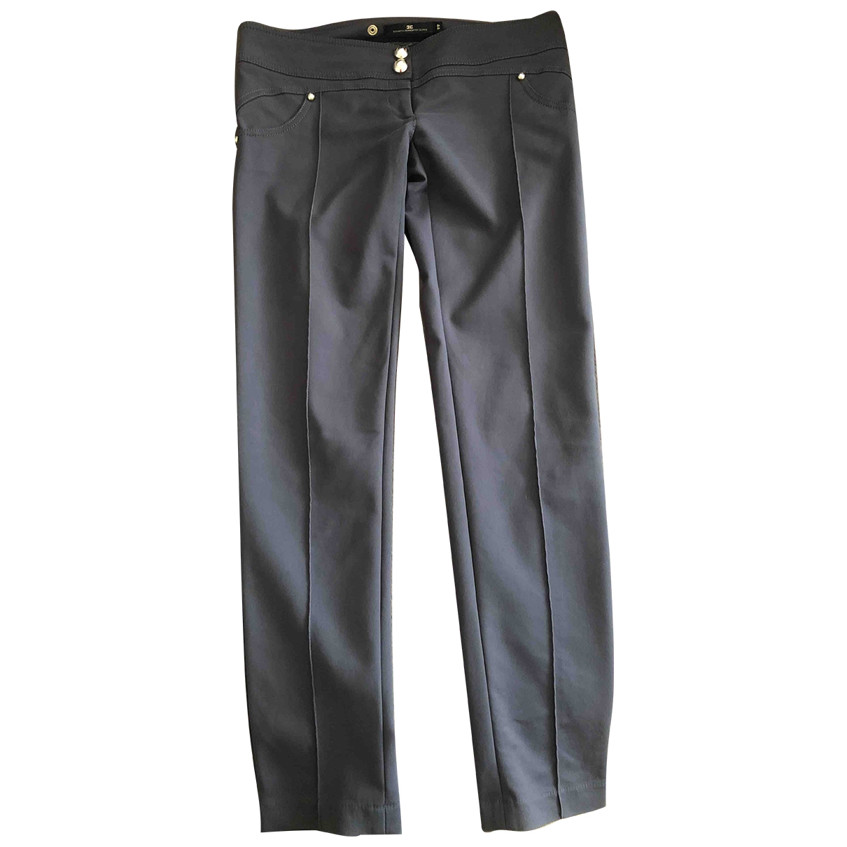 Elisabetta Franchi \N Grey Spandex Trousers for Women 44 IT