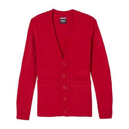 French Toast Little & Big Boys V Neck Long Sleeve Button Cardigan, Large , Red