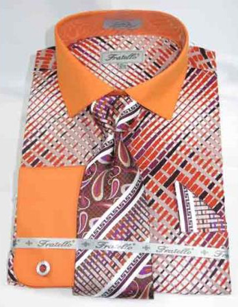 Mens Multi Pattern Orange Cotton French Cuff With Collar Dress Shirt