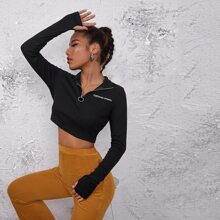 Letter Embroidered O-ring Zip Half Placket Crop Top
