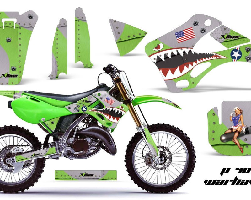AMR Racing Dirt Bike Graphics Kit Decal Wrap For Kawasaki KX125 | KX250 1999-2002áWARHAWK GREEN