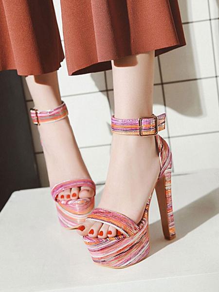Milanoo Sandalias sexys para mujer Zapatos sexys con punta redonda de cuero de PU azul