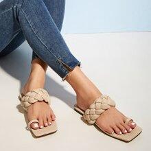 Toe Loop Braided Slide Sandals