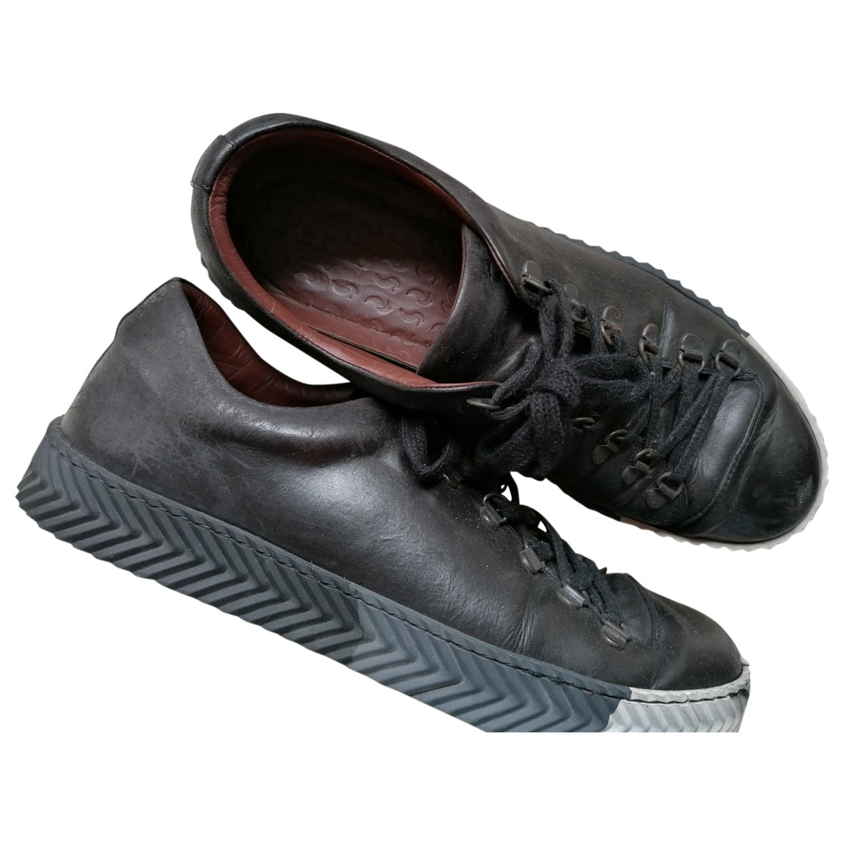Non Signé / Unsigned \N Black Leather Trainers for Men 43 EU