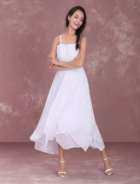 Milanoo White Simple Wedding Dresses Straps Embroidered Tiered Ruffles Short Bridal Dress